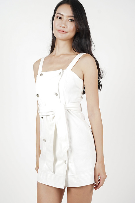 Kyla Buttoned Denim Dress in White - Arriving Soon