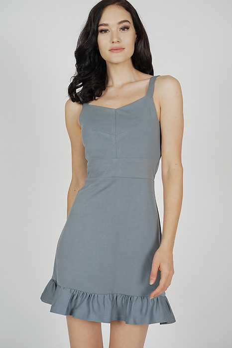 Jorlan Ruffled-Hem Dress in Grey - Arriving Soon