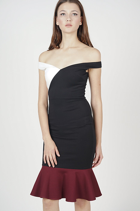 Ayla Color-Block Dress in Black
