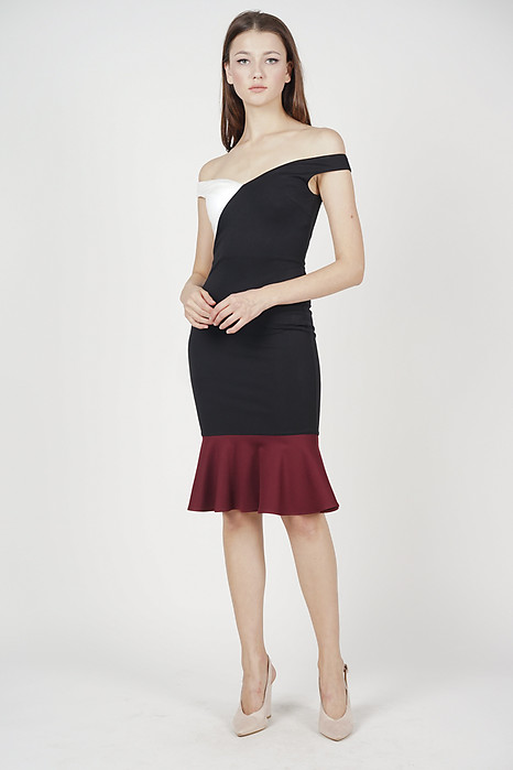 Ayla Color-Block Dress in Black - Arriving Soon