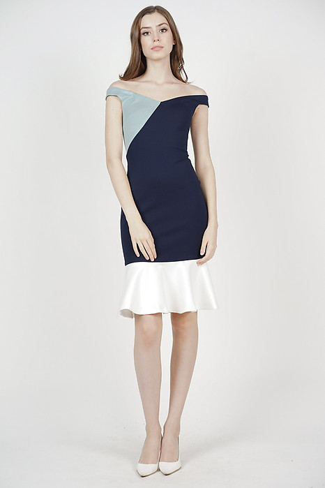 Ayla Color-Block Dress in Midnight - Arriving Soon