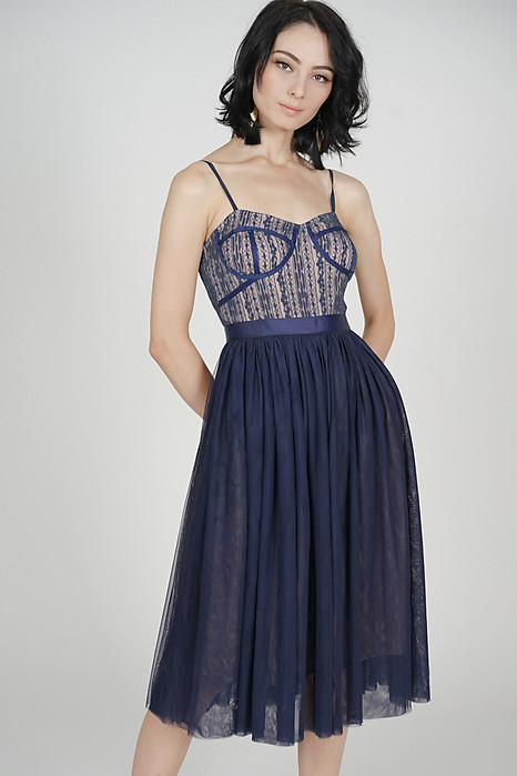 Merie Flared Tulle Dress in Midnight