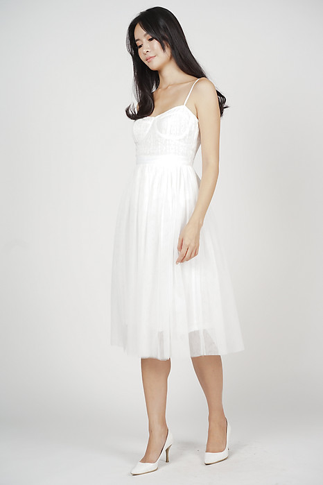Merie Flared Tulle Dress in White - Arriving Soon