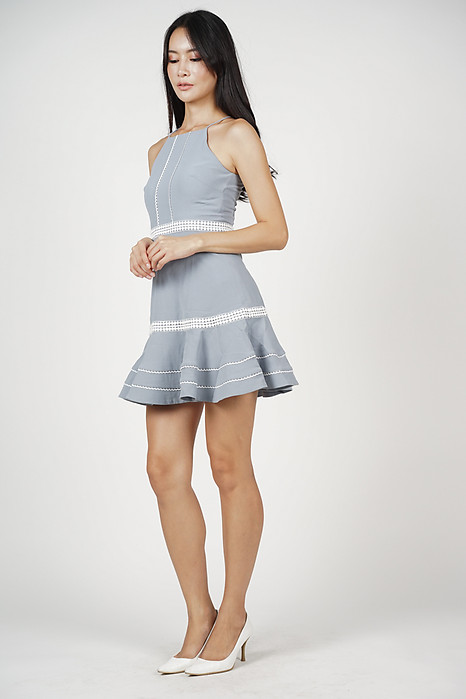 Hayden Ruffled-Hem Dress in Ash Blue