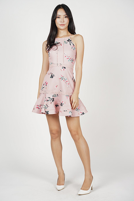 Hayden Ruffled-Hem Dress in Pink Floral - Arriving Soon