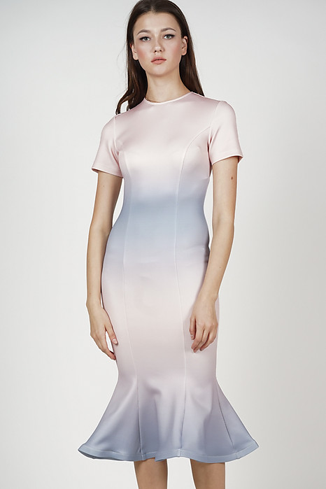 Jaeda Mermaid Dress in Pink Ombre