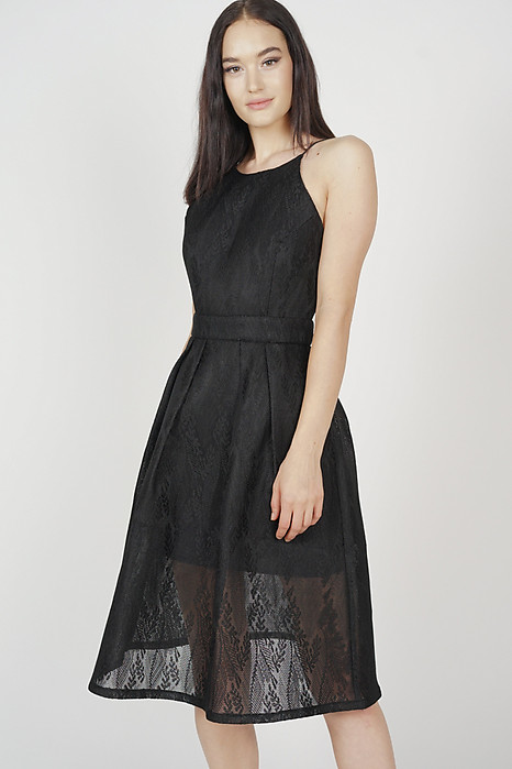 Amisha Flared Dress in Black