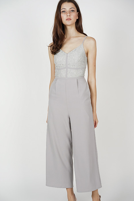Yerin Lace Jumpsuit in Grey