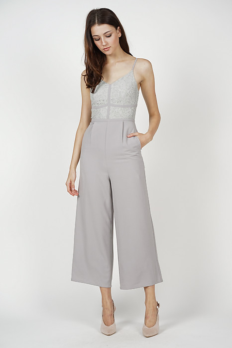 Yerin Lace Jumpsuit in Grey - Arriving Soon