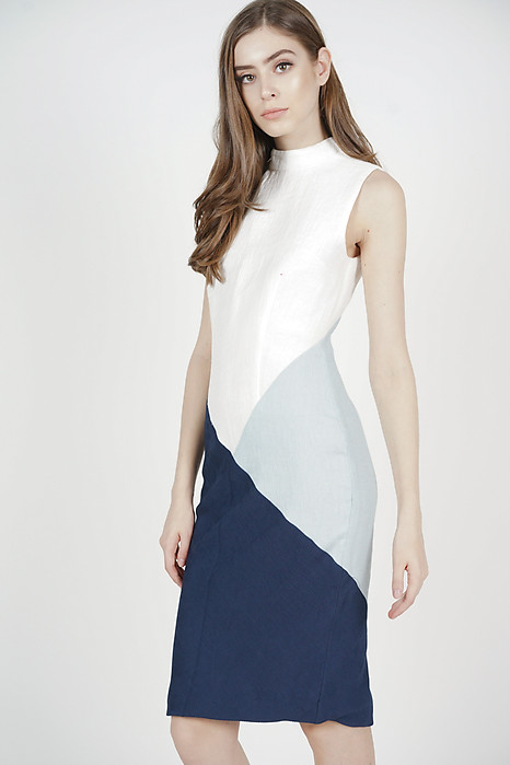 Polly Color-Block Dress in White