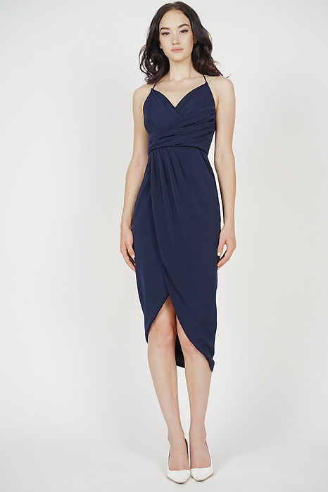 Shona Drape Dress in Midnight