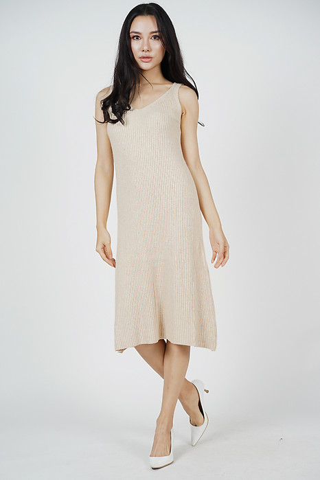 Efimia Knit Dress in Beige (Online Exclusive)