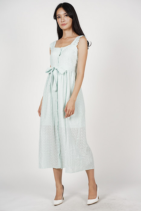 Taissa Crochet Dress in Green - Online Exclusive