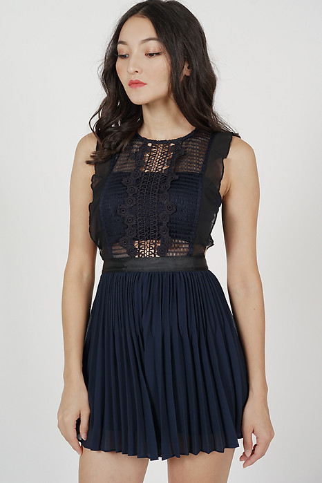 Beria Pleated Skorts Romper in Midnight