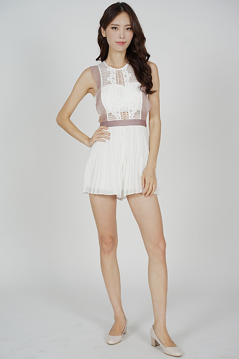 Beria Pleated Skorts Romper in White