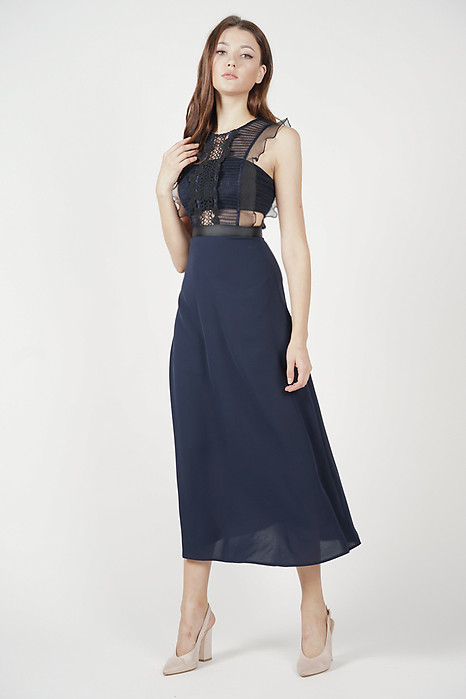 Ozla Ruffled Dress in Midnight - Arriving Soon