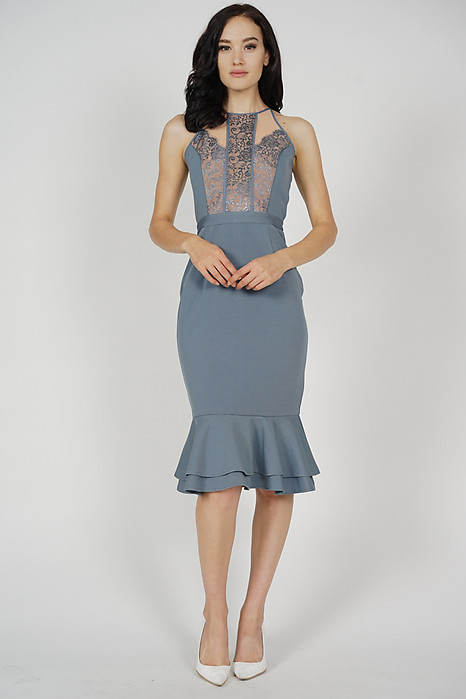 Marna Lace-Trimmed Dress in Ash Blue - Arriving Soon