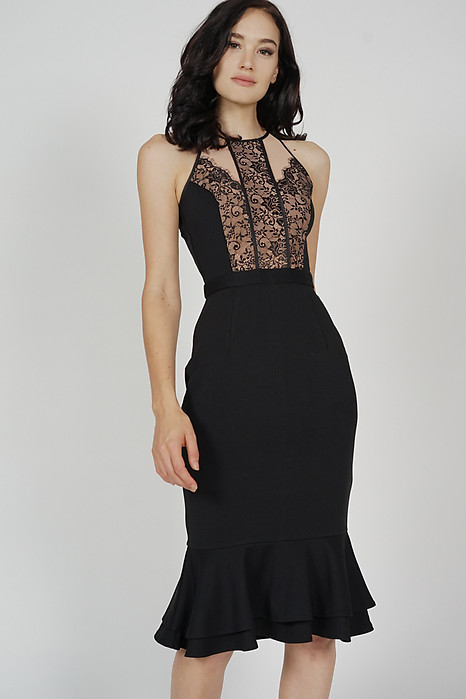 Marna Lace-Trimmed Dress in Black - Arriving Soon