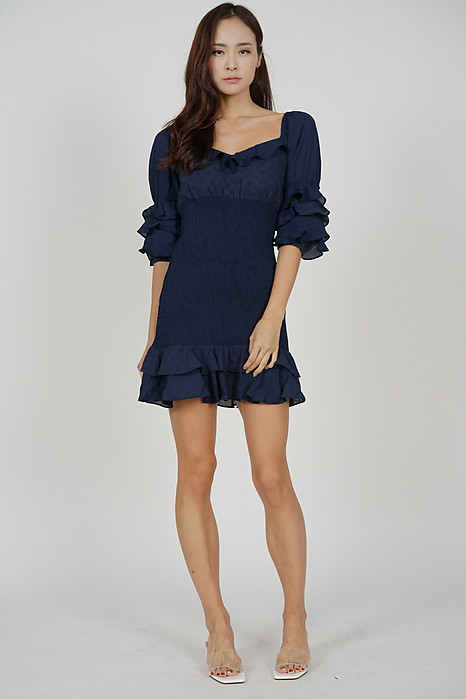 Fionie Ruffled Dress in Midnight