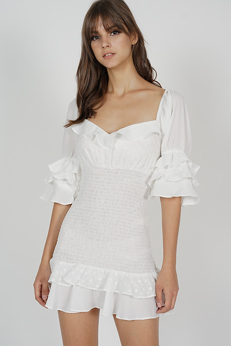 Fionie Ruffled Dress in White - Arriving Soon