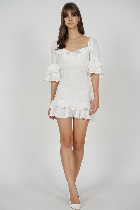 Fionie Ruffled Dress in White