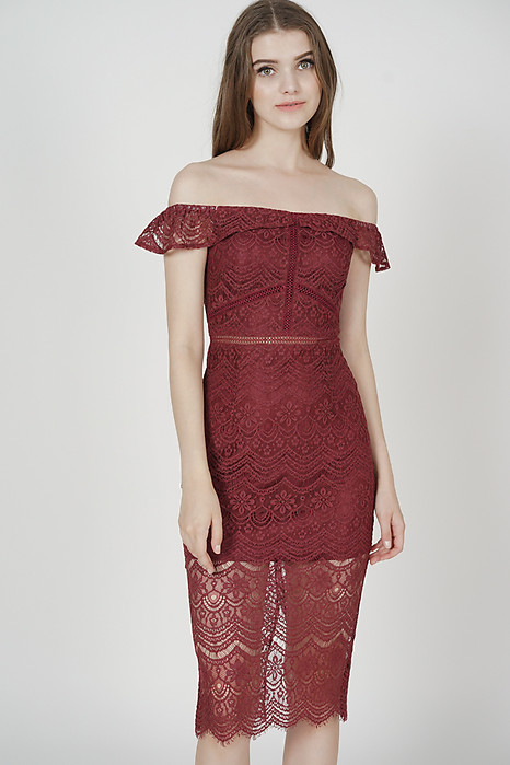 Hailey Lace Dress in Oxblood - Arriving Soon