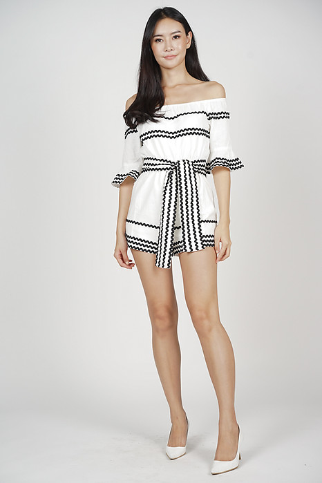 Katia Off Shoulder Romper in White - Arriving Soon