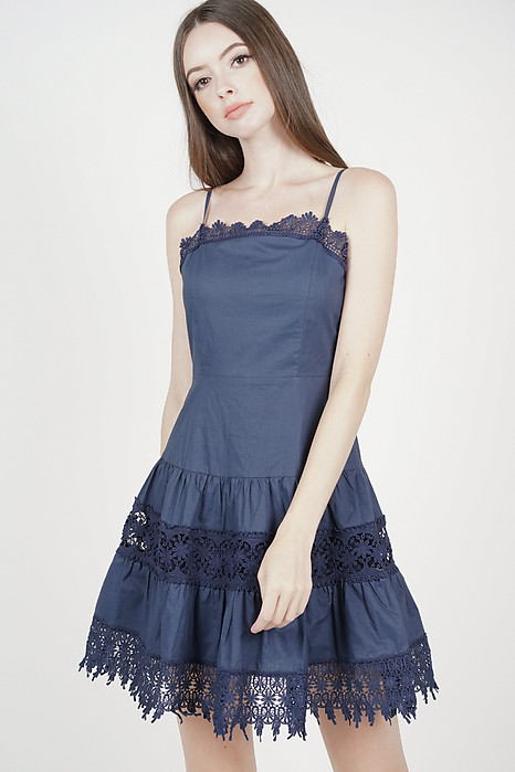 5bea0b4da2f Edlyn Crochet-Trimmed Dress in Midnight - Arriving Soon