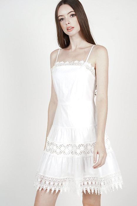 Edlyn Crochet-Trimmed Dress in White
