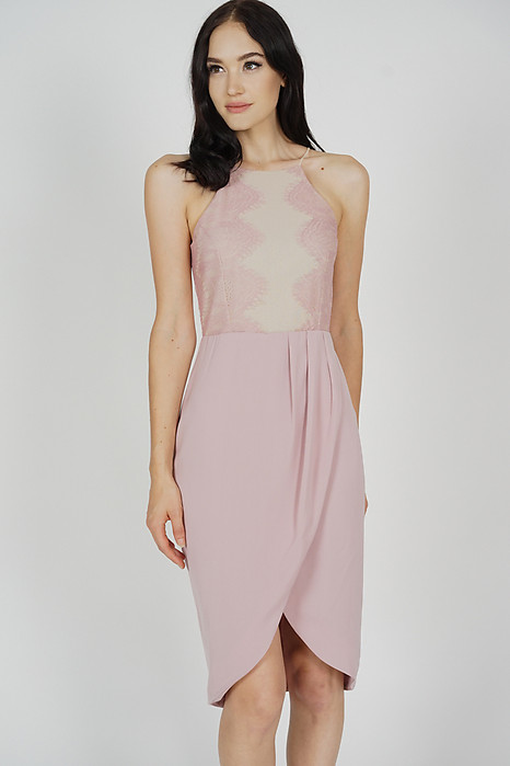 Oxana Lace-Trimmed Dress in Dusty Pink