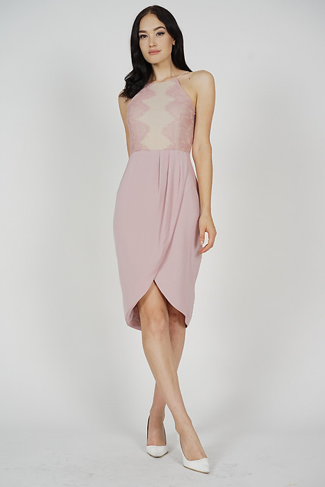 bb1f6a0b28d Oxana Lace-Trimmed Dress in Dusty Pink