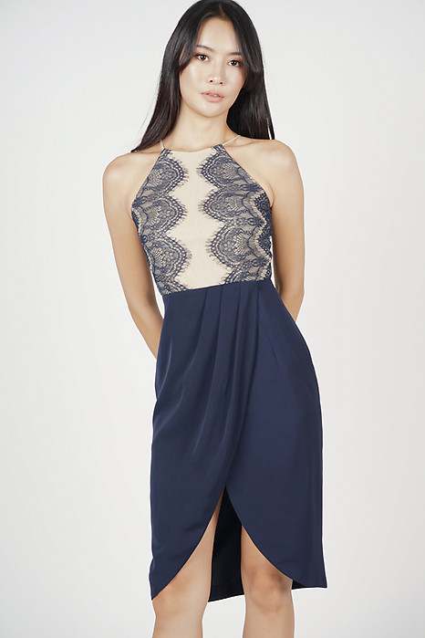 Oxana Lace-Trimmed Dress in Midnight