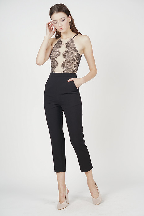 Oriea Lace-Trimmed Jumpsuit in Black - Arriving Soon
