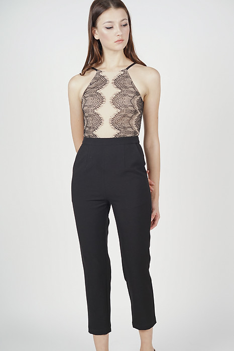 Oriea Lace-Trimmed Jumpsuit in Black