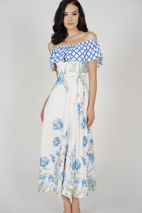 Suzanna Overlay Dress in Blue Checks Floral