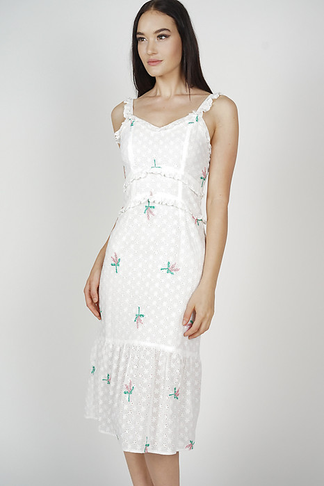 Radella Frill Dress in White Floral - Arriving Soon