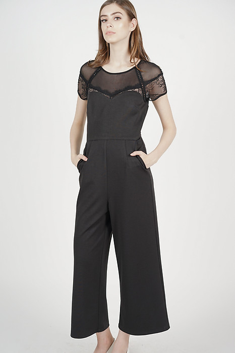 Deena Mesh Jumpsuit in Black