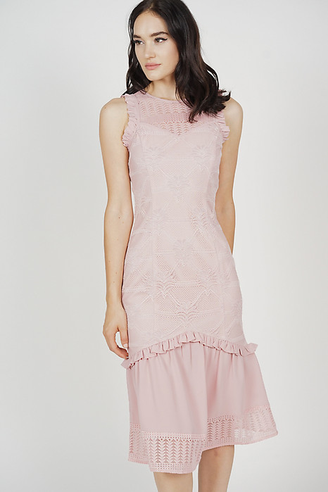 Charlotte Lace Dress in Pink
