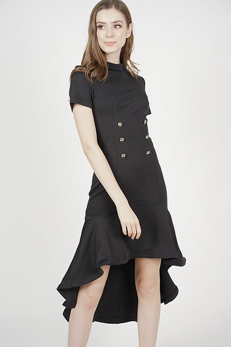Milani Ruffled-Hem Dress in Black