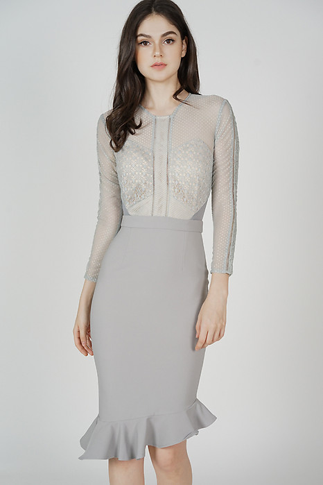 Sofya Lace Dress in Ash Blue - Arriving Soon