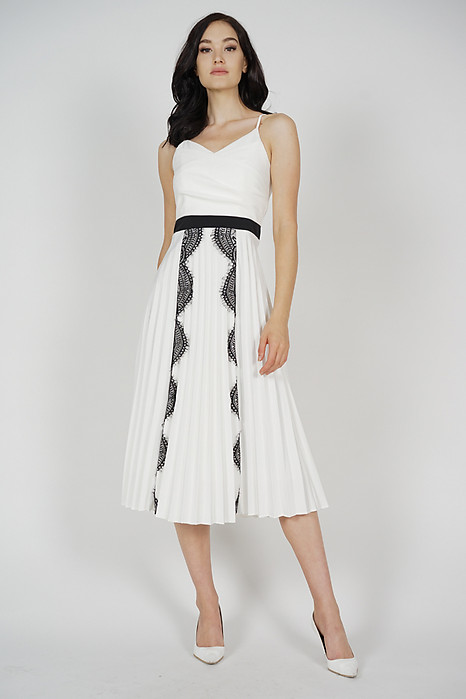 Izzie Lace-Trimmed Pleated Dress in White