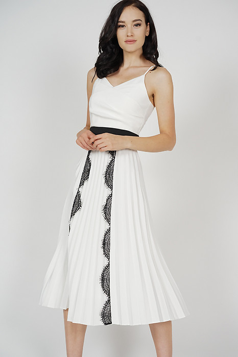 Izzie Lace-Trimmed Pleated Dress in White - Arriving Soon