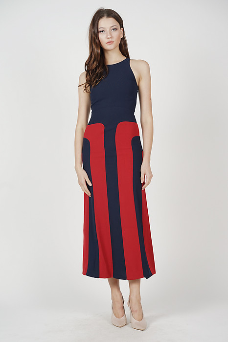 Shawna Color-Block Dress in Midnight