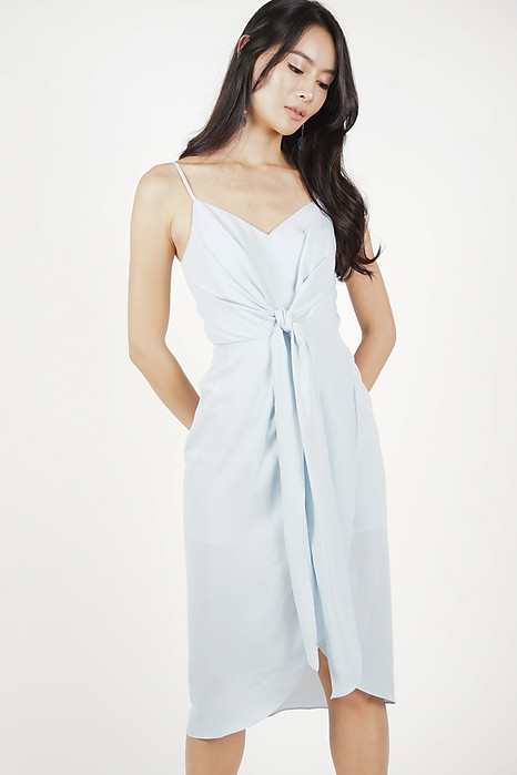 Neola Front Tie Dress in Ash Blue