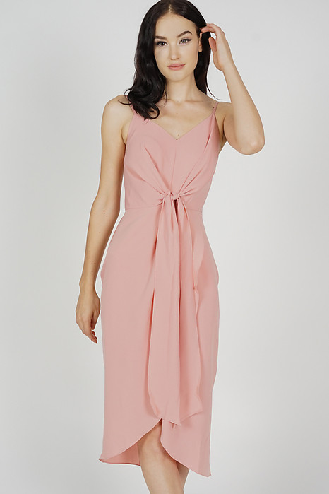 Neola Front Tie Dress in Blush