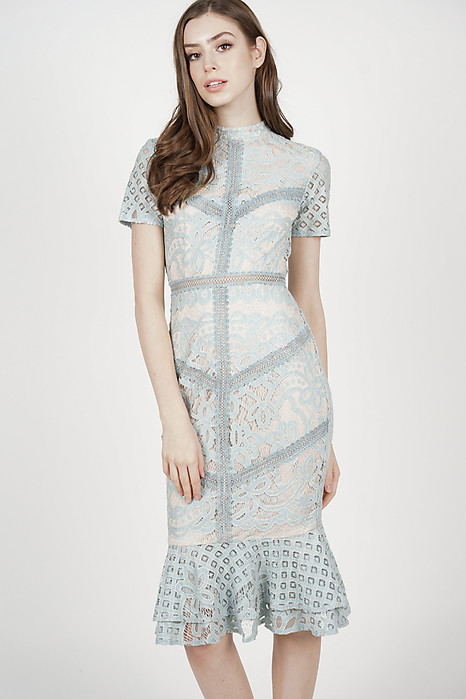 Tishya Lace Dress in Ash Blue