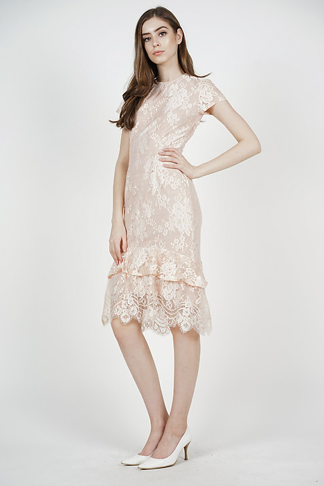 Clarah Lace Dress in Blush - Arriving Soon