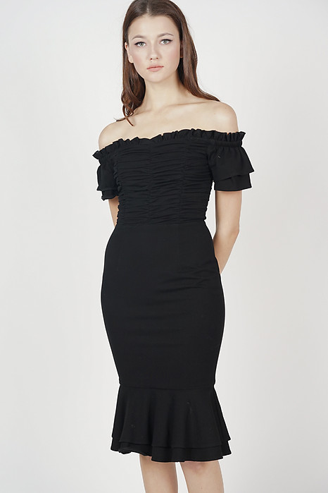 Esmeralda Ruched Dress in Black - Arriving Soon
