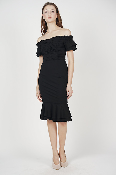 Esmeralda Ruched Dress in Black