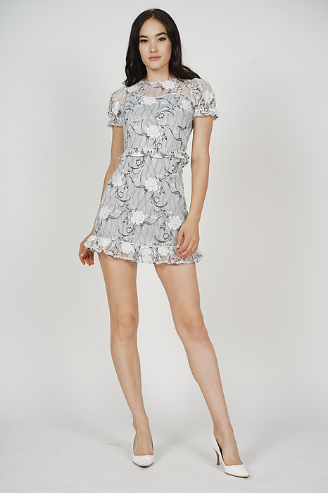 Stasia Lace Dress in Grey - Arriving Soon